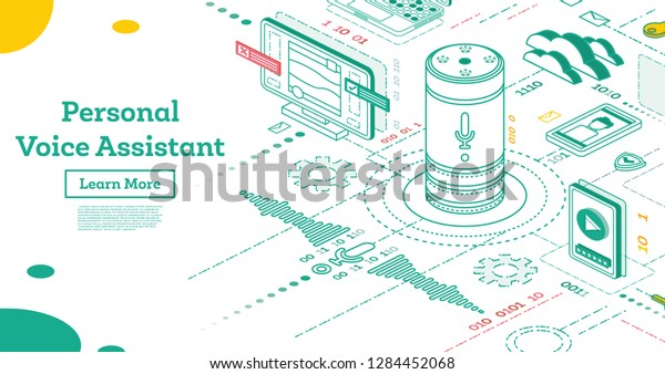 Personal Voice Assistant. Isometric Smart Speaker. Voice Activated Digital Assistant. Connections to Different Digital Devices.