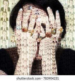 Personality disorder. Digital picture illustrating the personality disorder disease with multiple woman portrait collage.