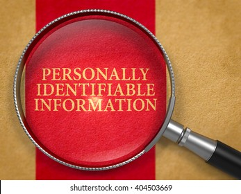 personally identifiable information through lens on old paper with dark red vertical line background 3d