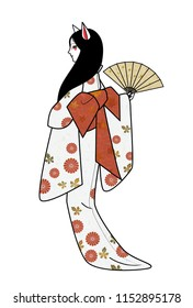 Personification of a fox, a young woman in kimono