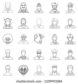 Personification icons set. Outline set of 25 personification icons for web isolated on white background