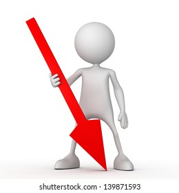 Persons with red arrow. Small unrecognizable people on 3D high quality render. Image isolated on white background.