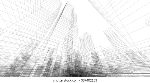 Perspective 3d Wireframe of building.