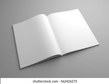 Perspective blank 3D illustration opened magazine mock-up.