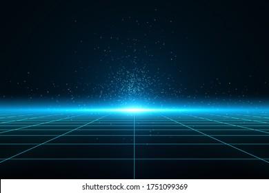 Perspective blue grid floor, Flare light, Glow, Sci-fi, 3D illustration.