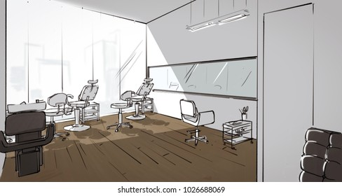 Perspective Drawing Of A Beauty Salon Interior