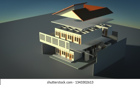 Perspective guest house design in exploded mode 3D render view, each floor, roof and wall separated by certain distance
