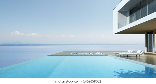 Perspective of luxury modern house with overflow swimming pool and sofa on sea view background, Idea of minimal architecture design. 3D rendering