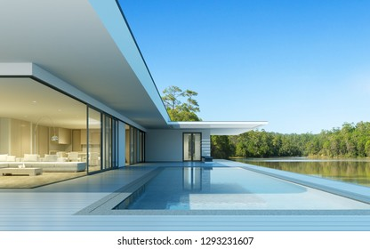 Perspective of luxury modern house with swimming pool in day time on green lake background, Idea of minimal architecture design. 3D rendering