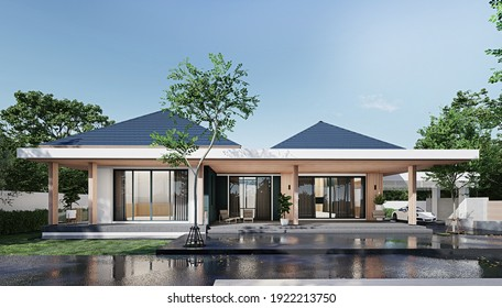 Perspective of modern luxury building with wood terrace. 3D rendering.
