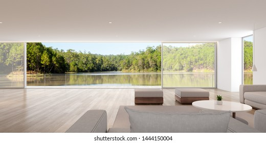 Perspective of modern luxury living room with white sofa and on lake view background,Idea of family vacation - warm timber interior design,Architecture Idea of large windows house - 3D rendering.