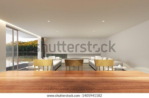 Perspective Modern Luxury Living Room Wood Stock