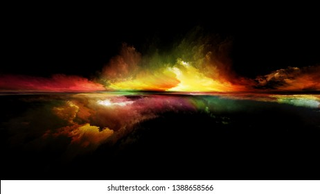 Perspective Paint series. Abstract composition of clouds, colors, lights and horizon line suitable for projects on illustration, painting, creativity and imagination