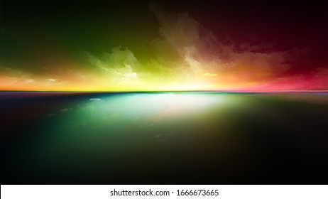 Perspective Paint series. Design made of clouds, colors, lights and horizon line to serve as background for projects on illustration, painting, creativity and imagination