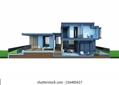 Perspective section views of house and construction space isolated on white background.