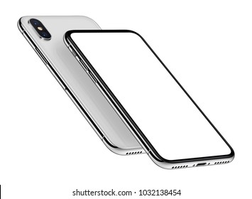 Perspective smartphones mockup front side with blank white screen and back side one behind the other. Isolated on white background. 3D illustration.