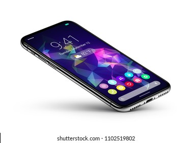 Perspective veiw smartphone with material design flat UI interface rests on one corner. Mobile apps icons home screen on the display. Android phone concept. Isolated with shadow. 3D illustration.