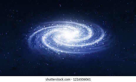 Perspective View Blue Milky Way Spiral Shape Of Galaxy The Space Of The Universe