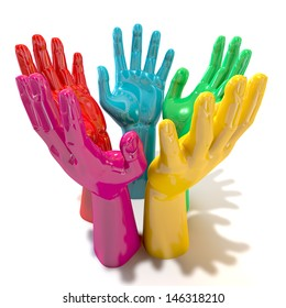 A perspective view of a circular group of glossy multicolored hands reaching skyward on an isolated white background