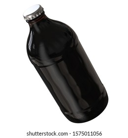 Perspective View of Cold Brew Coffee Bottle. Black and Brown Stubby Bottle. 12oz (11oz) or 355ml (330ml) volume. Realistic 3D Mockup Isolated on White Background Close-Up.