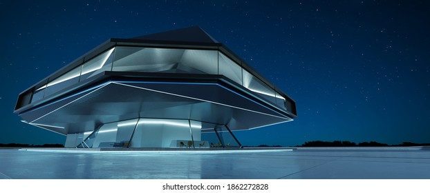 Perspective view of empty cement floor with steel and glass modern building exterior.  Night scene. Photorealistic 3D rendering.