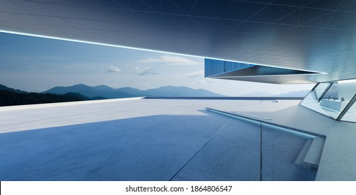 Perspective view of empty cement floor with steel and glass modern building exterior.  Morning scene. Photorealistic 3D rendering.