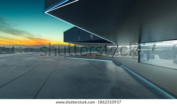 Perspective view of empty cement floor with steel and glass modern building exterior.  Early morning scene. Photorealistic 3D rendering.