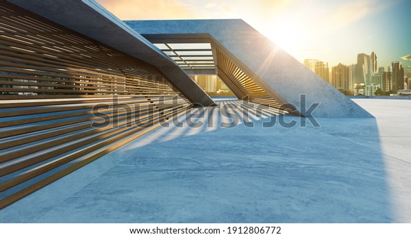 Perspective view of empty concrete floor and wooden wall building exterior with sunrise cityscape scene. Mixed media. 3d rendering