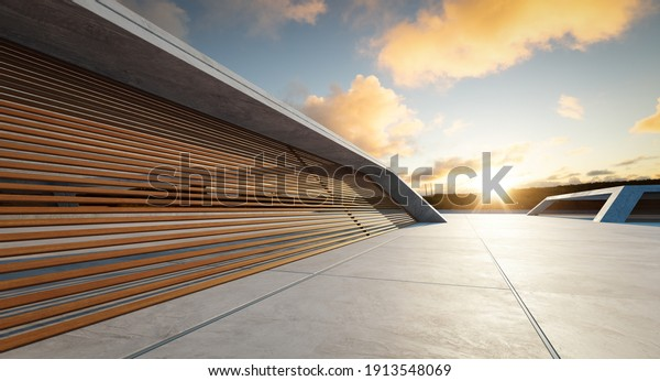 Perspective view of empty concrete floor and wooden wall building exterior. Sunset scene. Mixed media with 3d rendering