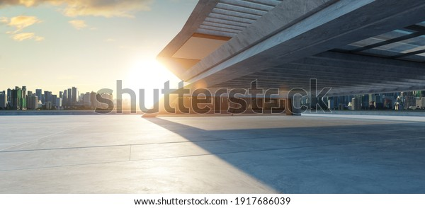 Perspective view of empty concrete floor with cement structure and wooden wall building exterior. 3d rendering. Mixed media.