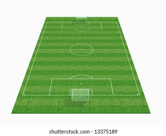 perspective view of an empty soccer field -3d rendering