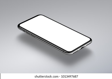 Perspective view isometric smartphone mockup hovers over a gray surface. New frameless smartphone mockup with white screen. High detailed realistic 3D illustration.