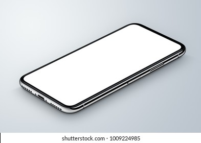 Perspective view isometric white smartphone mockup lies on gray surface. 3D illustration.