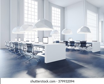 Perspective view of loft creative office. 3d rendering