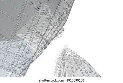 Perspective view of modern architecture 3d illustration