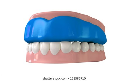 A perspective view of a regular blue sports gum guard fitted to a set of closed false teeth on an isolated background