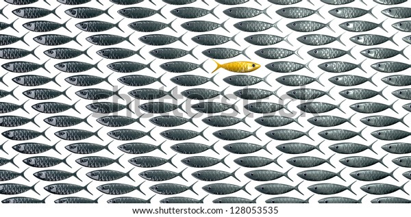 A perspective view of a school of stylized silvery fish swimming in one direction with a contrasting golden one swimming in the opposite direction on an isolated background