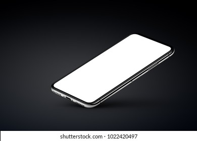 Perspective view smartphone mockup with blank white screen rests on one corner with shadow on black background. 3D illustration.