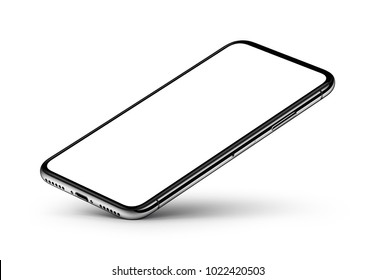 Perspective view smartphone mockup with blank white screen rests on one corner with shadow on white background. 3D illustration.