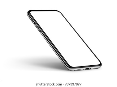 Perspective view smartphone mockup with shadow on white background. 3D illustration.