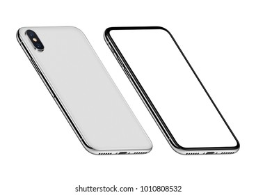 Perspective view smartphones mockup front side with blank white screen and back side. Isolated on white background. 3D illustration.