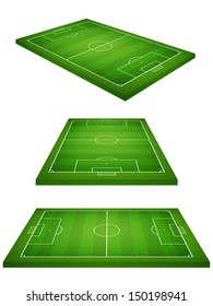 Perspective view of soccer field on white background