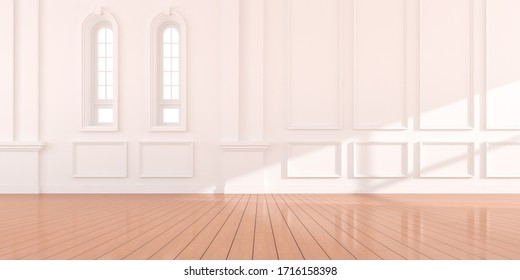 Perspective of the white empty room on wood laminate floor, Classic interior style with arch window design. 3d rendering.
