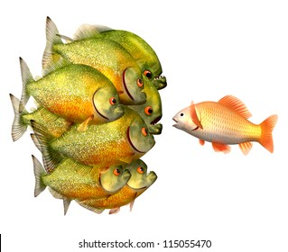 Persuasion concept, goldfish and piranhas, 3d illustration with work-path