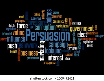 Persuasion word cloud concept on black background.