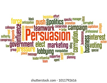 Persuasion word cloud concept on white background.