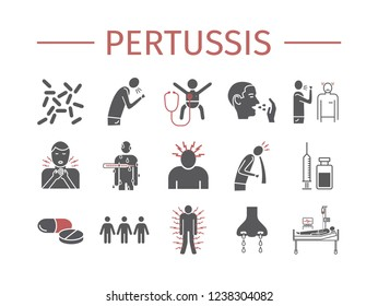 Pertussis signs. Whooping cough, Symptoms, Treatment. Flat icons set.