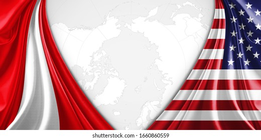 Peru and American flag of silk with copyspace for your text or images and world map background-3D illustration