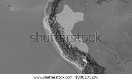 Peru Area On Grayscale Elevation Map Stock Illustration 1088193296