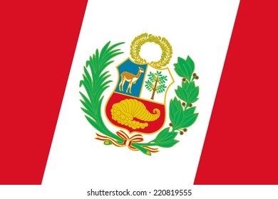 Peru Flag. Close up.